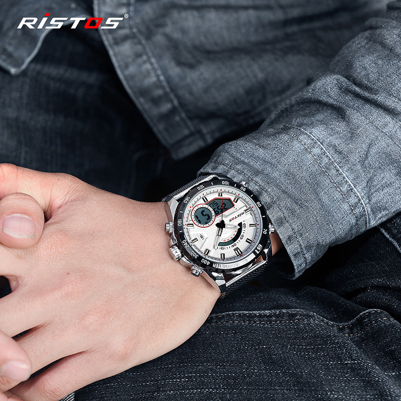 6e0059982901 RISTOS Men Multifunction Steel Mesh Watch Fashion Relojes Masculino Hombre  Man Sport Watches Chronograph Digital Wristwatch 9361-in Sports Watches  from ...