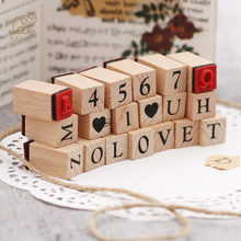 1Set Retro Wooden Alphabet Number Stamps Set Diary Decoration Ablum Wedding Alphabet Stamp Office School Stationery wholesale 42pcs set retro creative wooden character number stamp for diy decoration stamp 4sets lot