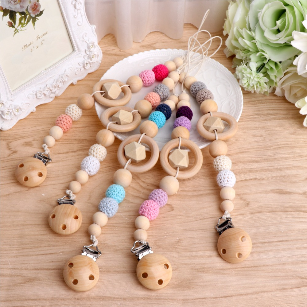 NEW Baby Kids Wooden Beaded Pacifier Holder Clip Nipple Teether Dummy Strap Chai