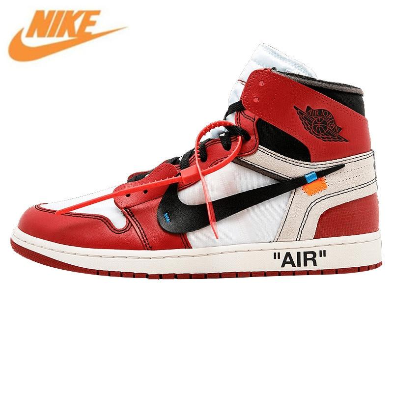 Nike Air Jordan 1 X Off White AJ1 L Ограниченная серия Limited Для Мужчин's Баскетбольные кеды, прохладный Открытый Обувь Спортивная обувь aa3834 101
