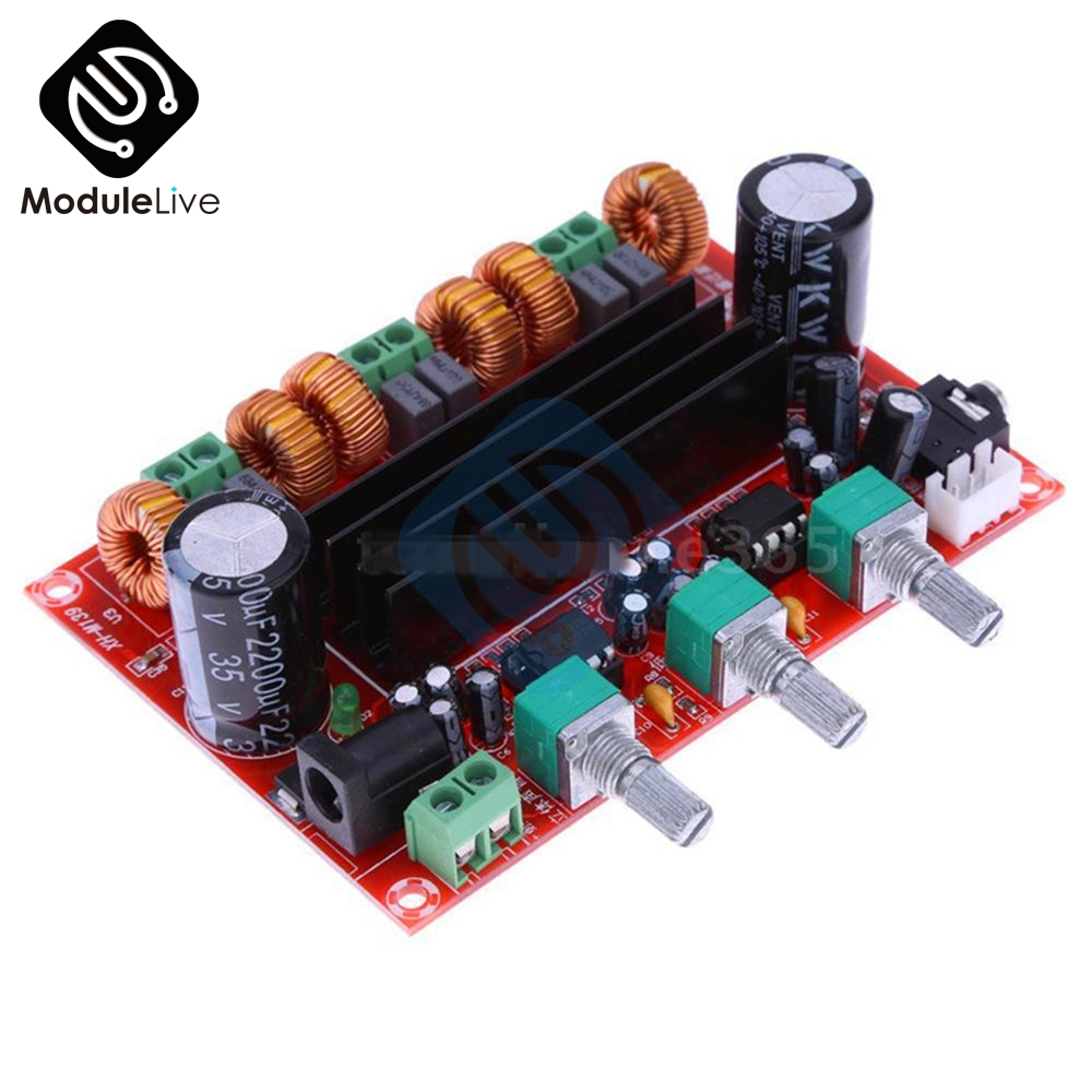Top Sound TPA3116D2 50W *2 +100W 2.1 Channel (Left/Right/Subwoofer) Power Amplifier Board Digital Stereo Audio Module 12-24V DC