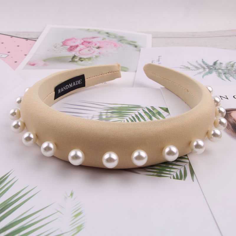 Fioday Crystal Padded 3cm Wide 1.5cm Thick Headbands Black Rivet MilkSilk Hairbands For Women Simulation Pearl Hair Hoops Female