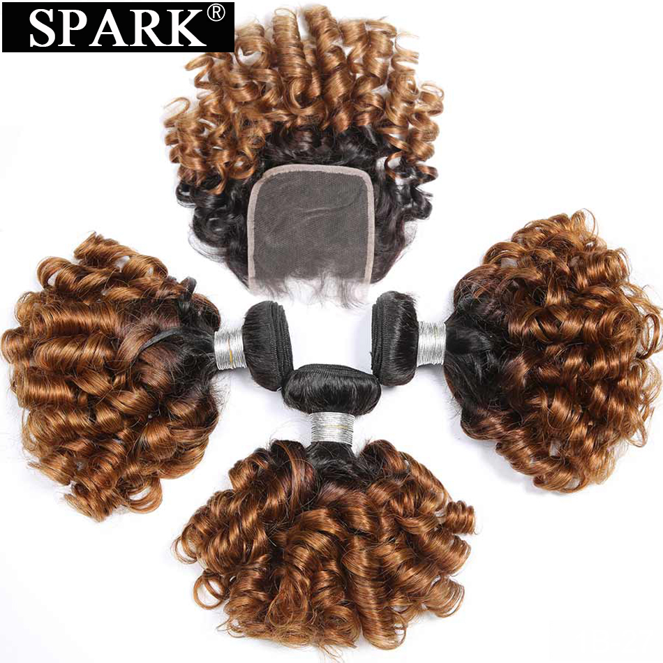 Spark Ombre Natural Bundles With Closure Remy Brazilian Hair Weave Bundles With Closure Human Hair Extension