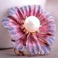 Bem Bijuteriras Violetta Broches Roxo Broche de Flor Para As Mulheres Esmalte Perfeito Jóia Da Pérola Broches Broches Melhor Natal
