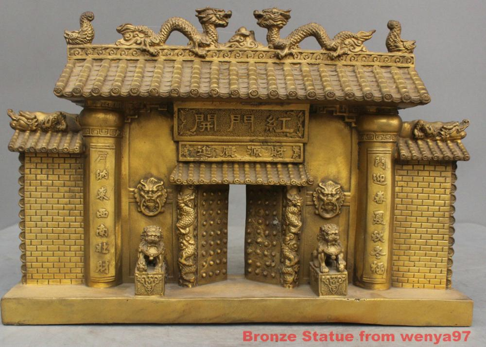 16'' China Fengshui Folk Double Dragon Gate Two Lions Guardian Bronze Statue Big Clearance Sale