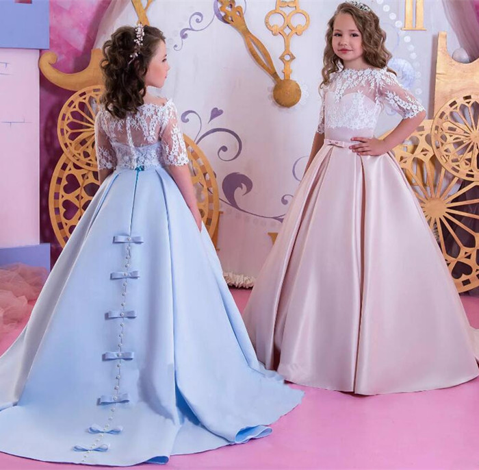 2018 New Off Shoulder Lace Flower Girl Dresses with Lace Wrap Half Sleeves Girls Pageant Party Gown Custom Any Size2018 New Off Shoulder Lace Flower Girl Dresses with Lace Wrap Half Sleeves Girls Pageant Party Gown Custom Any Size