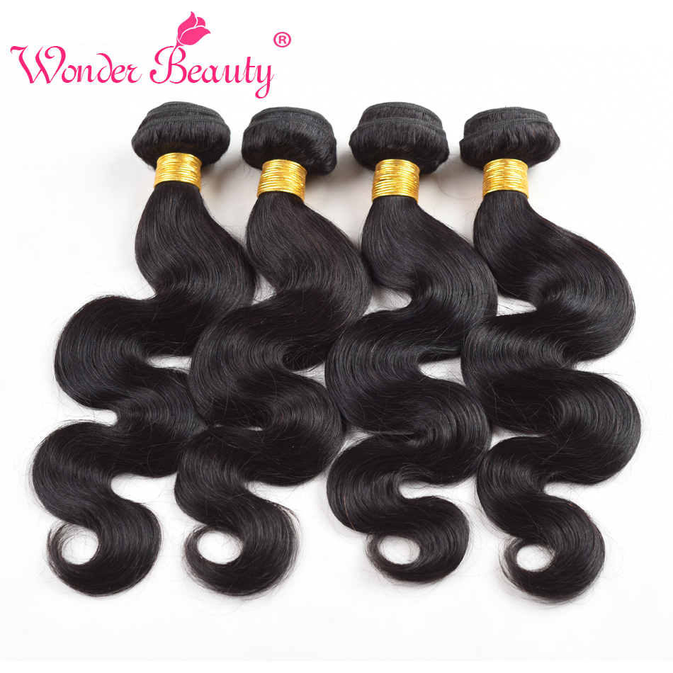Brazilian Body Wave Hair Weaves 4Pcs Virgin Brazilian Human Hair Bundles Cheap Natural Black Wonder Beauty Hair Extensions