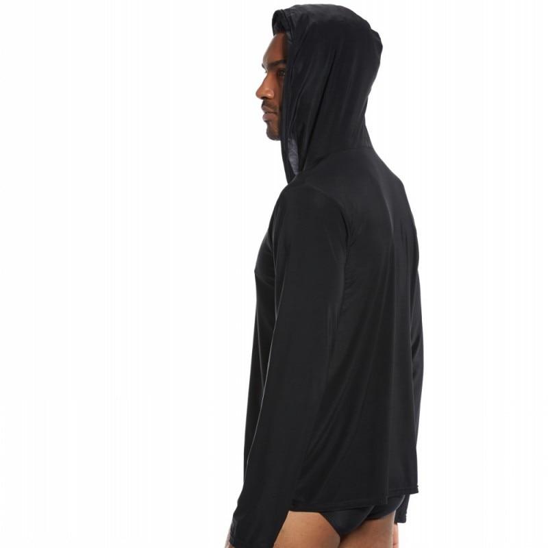 KWAN.Z men's sleep top ice silk nylon sleepwear men silky sleep shirt camison hombre home clothes for men nightshirt men hood(China)