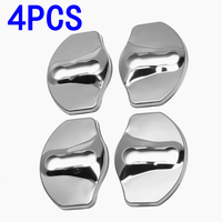 4Pcs Door Lock Cover Car Protective Trim Stainless Steel Stainless steel Silver