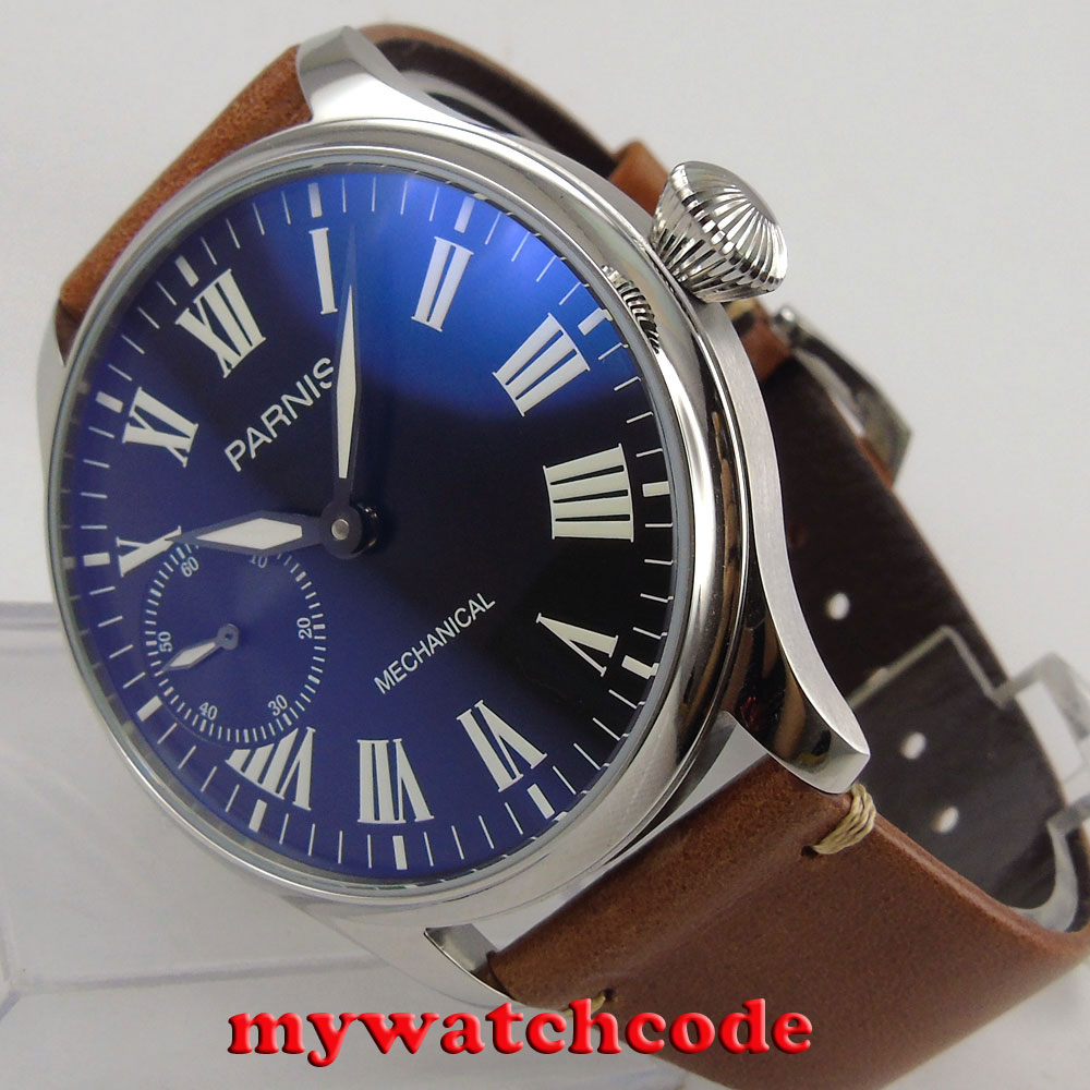 44mm parnis black dial luminous marks Roman numeral 6497 hand winding mens watch цена и фото
