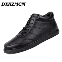 DXKZMCM Genuine Leather Men Boots,38-48 Fashion  Autumn Winter Ankle Rubber Boots For Men