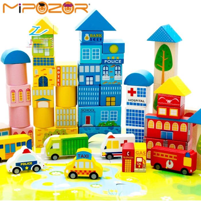 mipozor 160pcs wooden designer model building kits 3d blocks kids educational toys city series diy farm