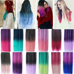 1PC+Fast Shipping Top Quality New 16 Colors 5 Clips 120G Straight Two Tone Colors Hair Extension Synthetic Clip in on Hair Piece