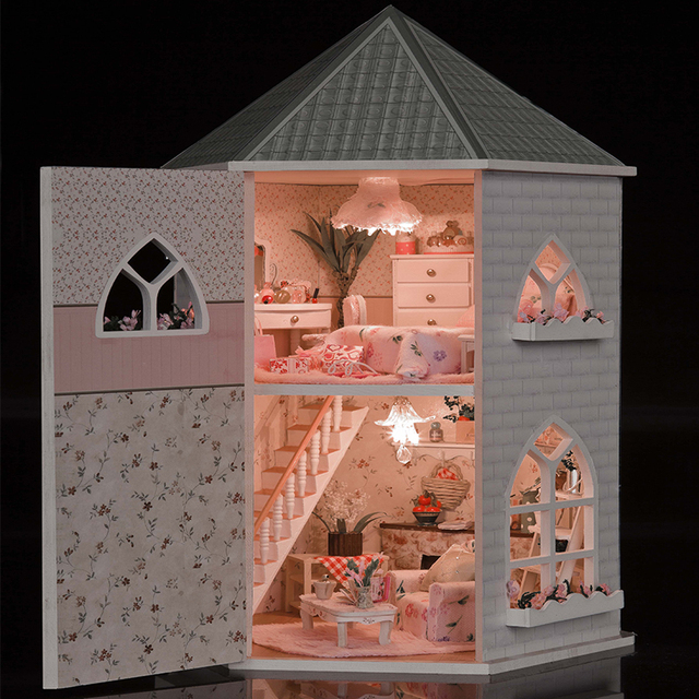 DIY Doll Houses Wooden Doll House Unisex dollhouse Kids Toy Furniture Miniature Barbie Dollhouse Crafts Accessories Toy