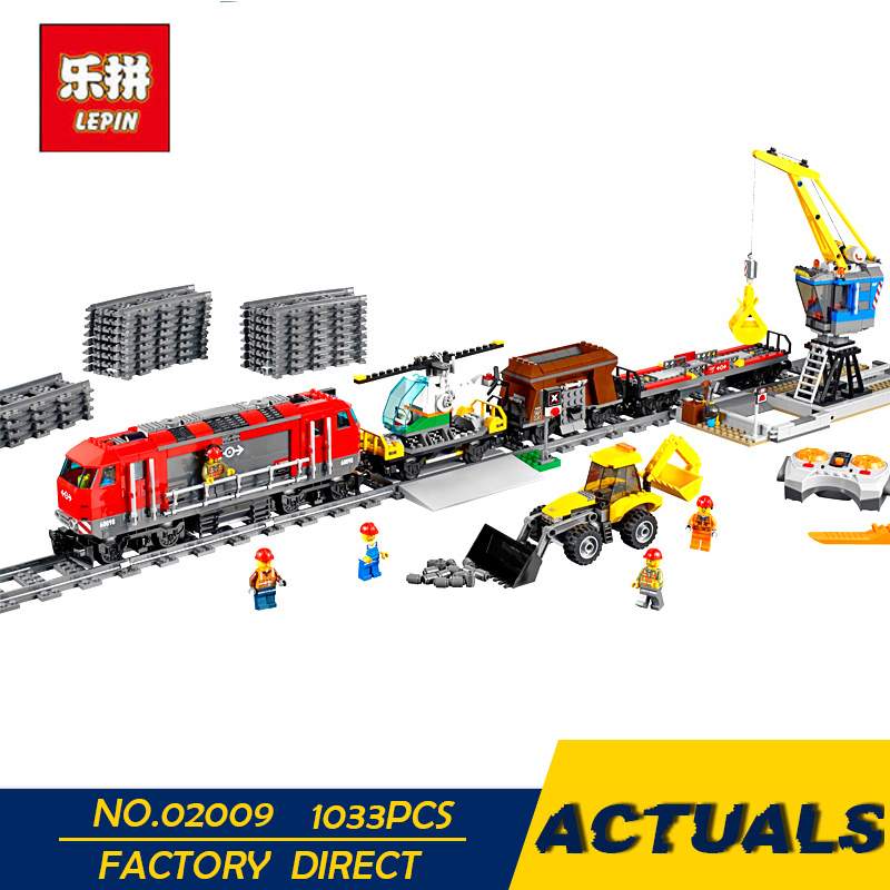 LEPIN 02009 1033pcs City Engineering Remote Control RC Train Building Block Compatible 60098 Brick Toy Educational toys Children lepin 02009 city engineering remote control rc train model