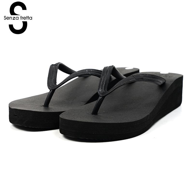 Senza Fretta Women Shoes Summer Flip Flops Pu Rubber Poe Flip Flops Casual Plain Flip Flops Shoes Beach Flat Wedge Shoes Women сланцы popular summer flip flops