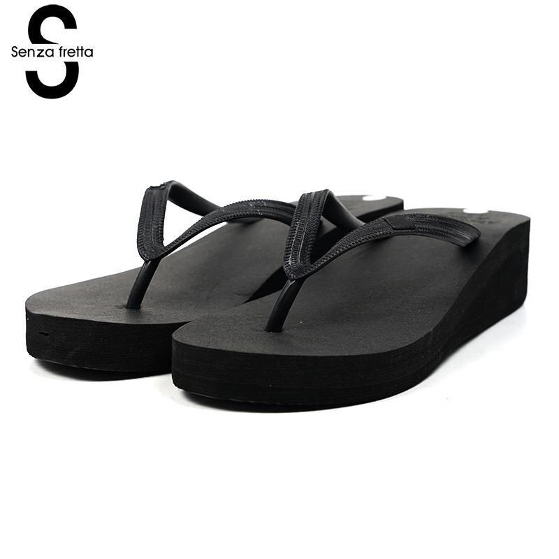 где купить Senza Fretta Women Shoes Summer Flip Flops Pu Rubber Poe Flip Flops Casual Plain Flip Flops Shoes Beach Flat Wedge Shoes Women по лучшей цене