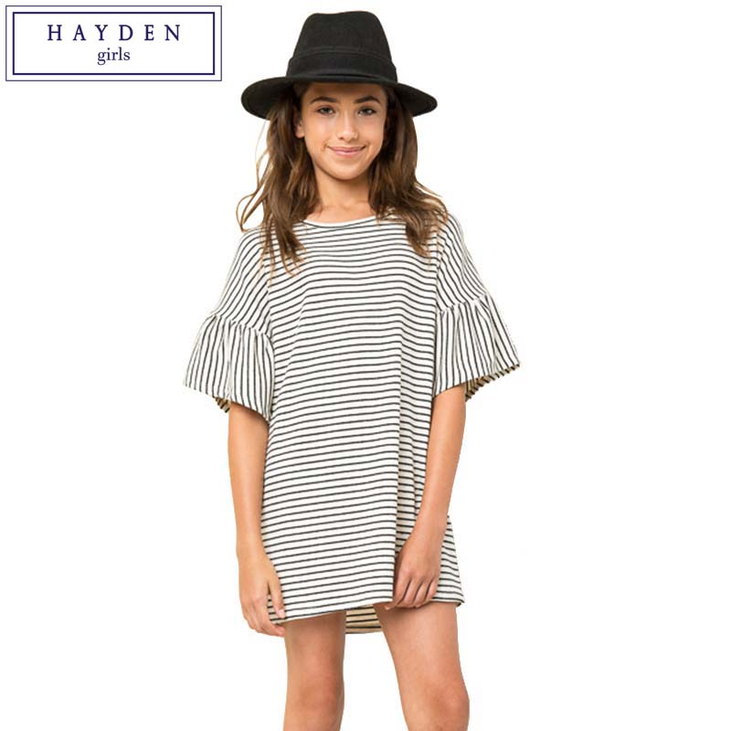 HAYDEN Girls Stripe Dress Ruffle Sleeves Summer Dresses for Kids Girl Striped Dress Black White Short Sleeve Kids Clothes 2017 купольное зеркало 600мм сорокин 25 136