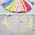Ladies Fashion Lace Sheer Floral Print Triangle Women Scarf Shawl Tassel 10Color