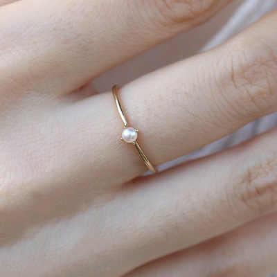 น่ารักประณีตทองสีขนาดเล็ก planet ฝังมุกแหวน bohemian สไตล์ CZ หมั้นแหวนเครื่องประดับหญิงเงินสเตอร์ลิง