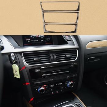 3x 100% Carbon Fiber Middle Console Button Frame Cover Decoration Trim For Audi Q5 09-2017 & A5 08-17 & A4 09-16