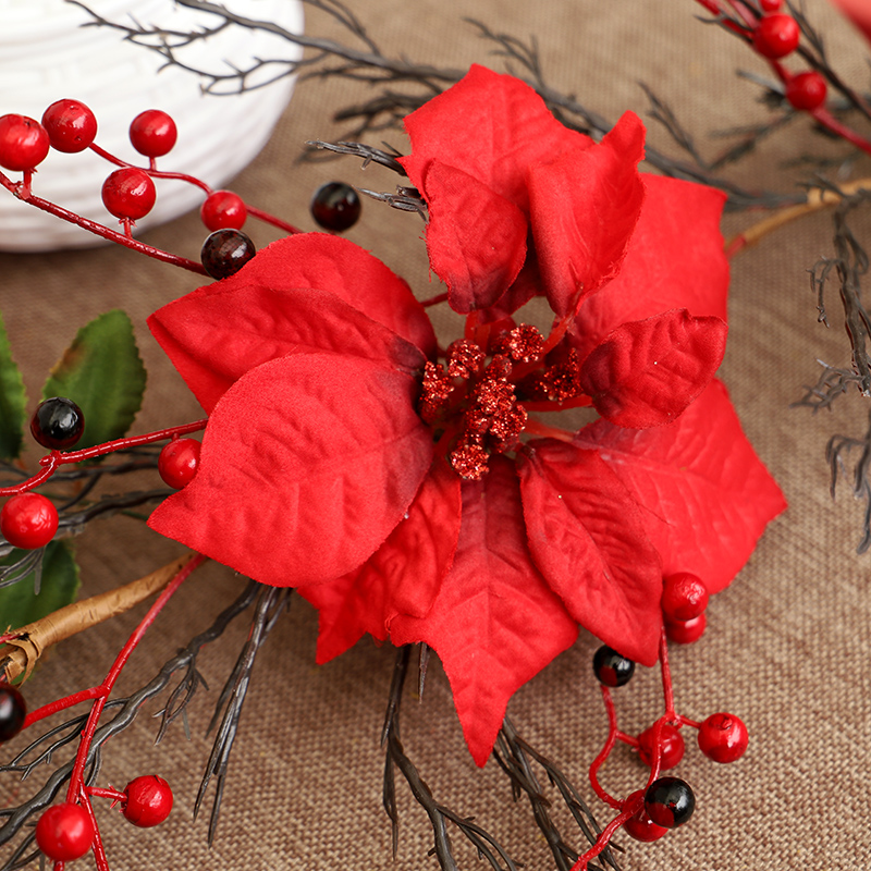 HOYVJOY 120cm Christmas Flower Red Fruit Big Rattan Faux Plants Christmas Thanksgiving Party Home Decoration in Artificial Plants from Home Garden