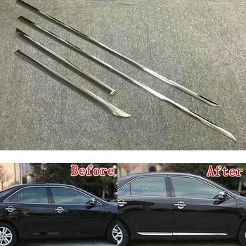 4pcs/set ABS Chrome Car Body Side Guard Strip Garnish Trim Decal Cover Molding Fit For Toyota Camry 2018 Car Styling Accessories