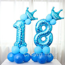 baby party hat 17pcs Blue Pink Number Balloon Happy Birthday Balloon 520 number Birthday Kids children Boy Girl 100day Ballon(China)
