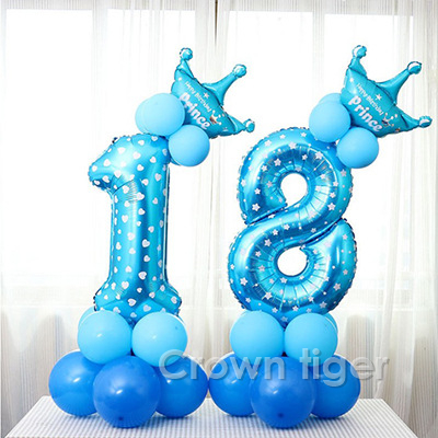 Baby Party Hat Set Blue Pink Number Balloon Baby Infant Birthday Balloon 520 1/2/3/4/5/6T Kids Children Boy Girl 100day Decor