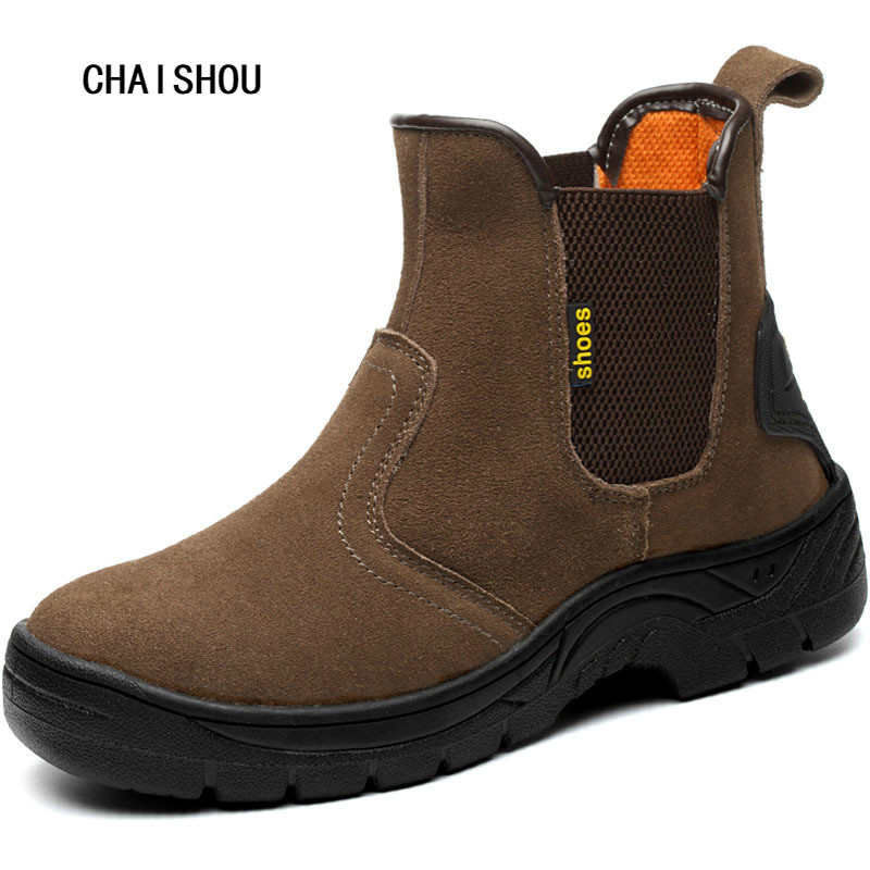 Men's Plus Size Safety Boots Steel Toe Cap Work  Shoes Men Outdoor Anti-slip Steel Puncture Proof Construction Shoes CS-38