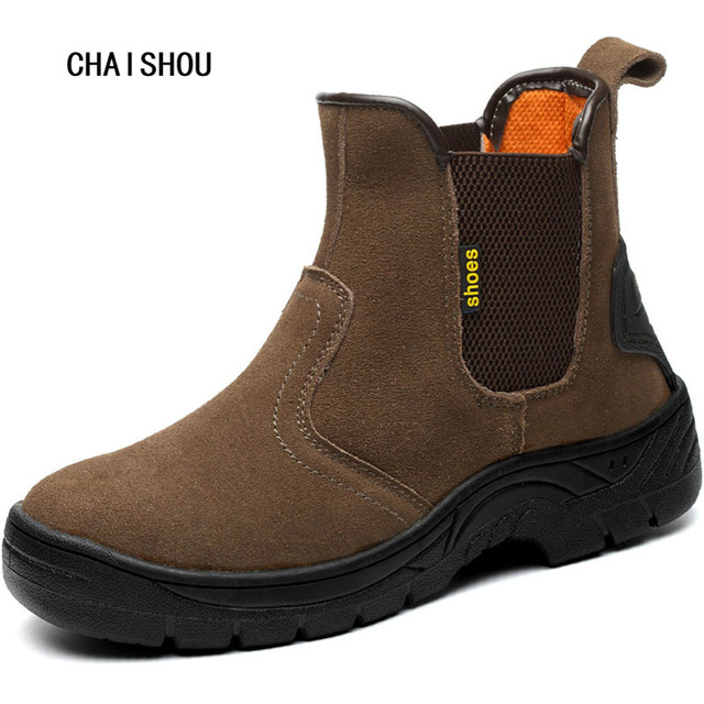 11a63723bb2 US $22.73 9% OFF|Men's Plus Size Safety Boots Steel Toe Cap Work Shoes Men  Outdoor Anti slip Steel Puncture Proof Construction Shoes CS 38-in Work &  ...