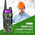 Actualización camuflaje baofeng uv-5r radio de dos vías vhf uhf walkie talkie walkie talkie emparejado con 3800 mah batería grande