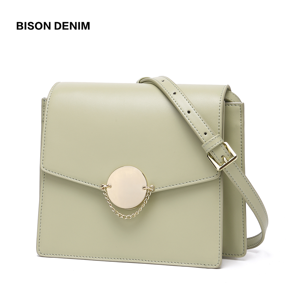 BISON DENIM Cow Leather Luxury Handbags Women Bags Designer New Shoulder Bag High Quality Crossbody Bag