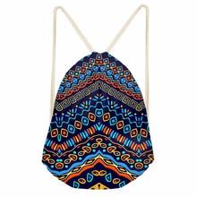 ThiKin African Printing Drawstring Bag Women Backpack Small Drawstring Bag for Boys Men's Mochila Shoe Package Bag Drop Shipping