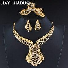 6c2c5cdd7e74 Jiayijiaduo conjunto de joyería de cuentas africanas de boda nigeriana de  Color dorado para mujer