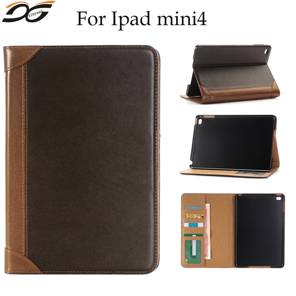Book Design Style Series Leather Case Cover for iPad mini 4 Folding Stand Holder Case Cover with Cash Card Wallet Slots Pocket glossy leather wallet stand cover with 5 card slots for iphone 7 4 7 white