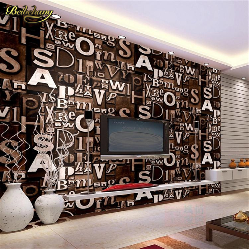 beibehang wall paper Quality Stereo Flocking Wallpapers Letter 365 Digital for TV Background Wall Living Room Home Decoration