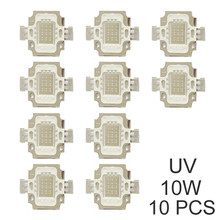 10 pcs 10 W Chip de LED UV 390-395nm Ultra Violeta Contas de Luz Chip de COB Lâmpada Ultravioleta Watt Completo Aquário DIY UV Luz Roxa(China)