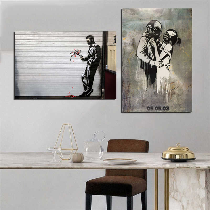 Banksy Street Art Graffit Canvas Prints Picture Modular Paintings For Living Room Poster On The Wall Home Decor