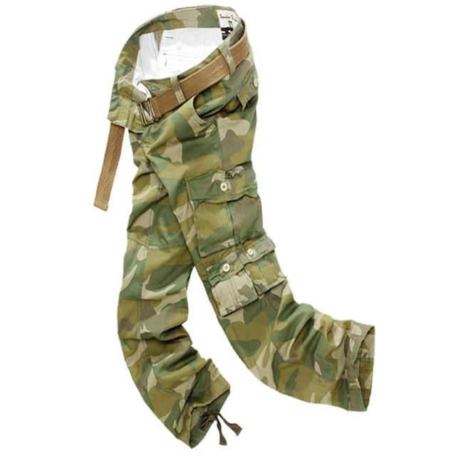 2017 Nuevo Verano de Moda Para Hombre Del Ejército Camoufl multibolsillos Pantalones Ocasionales Flojos Largos Pantalones de Carga Estilo Coreano Masculino En General