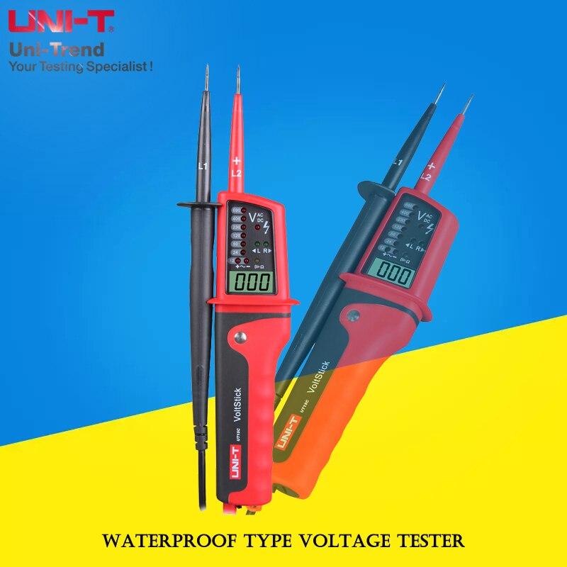 UNI-T UT15B/UT15C водонепроницаемый тестер напряжения; IP65 Водонепроницаемый/RCD тестирование/тест фазового положения вращения