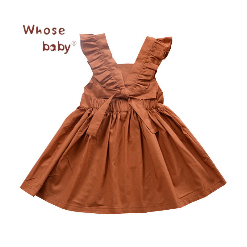 2018 Kids Summer Dresses Girl Backless Bowknot Clothes Girls Vintage Pumpkin Color Vest Dress Children Cute A line Party Dresses