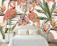 Modern fashion classic wallpaper simple hand painted tropical rain forest flamingo murals background Beibehang