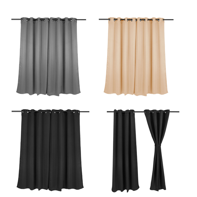 2Size Bedroom Clear Black Out Eyelet Ring Top Curtain
