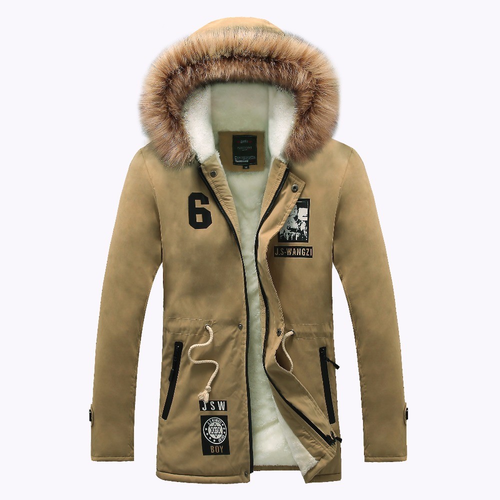 hot sale fashion printed men winter jacket thick fur hooded overcoats outwear M 4XL DYG134