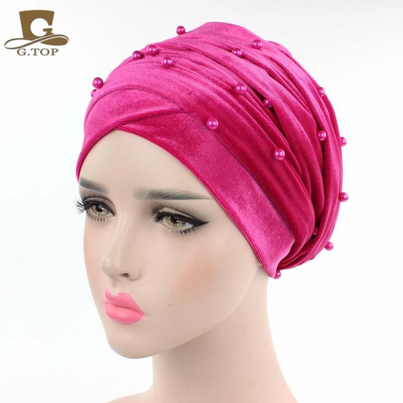 New luxury beaded pearled velvet turban long head scarf headwrap women muslim hijab Bandanas Hair Accessories 19