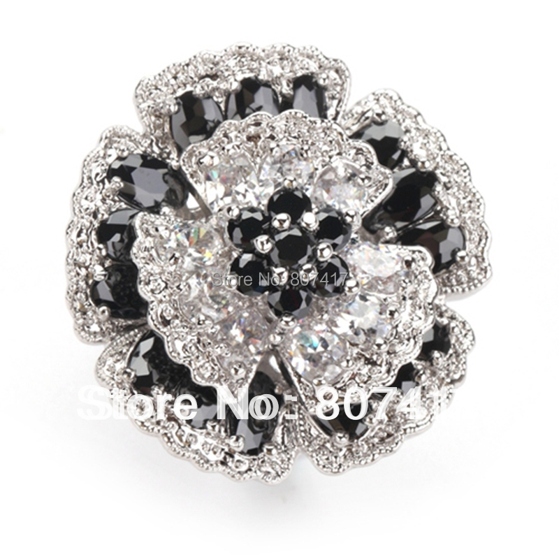 Fashion Trendy Black Crystal And White Crystal 925 Silver Ring R917 Sz 6 7 9