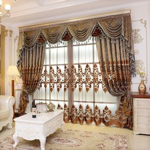 Living Room Window Blackout Luxury Curtains Ready Door Roman Curtain and Tulle for Bedroom European Chenille Embroidery Drapes