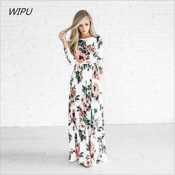 63c6f18e2 S-3XL Vestido largo de verano con estampado Floral Boho playa vestido  túnica Maxi vestido de fiesta de noche para mujer Vestidos de fiesta