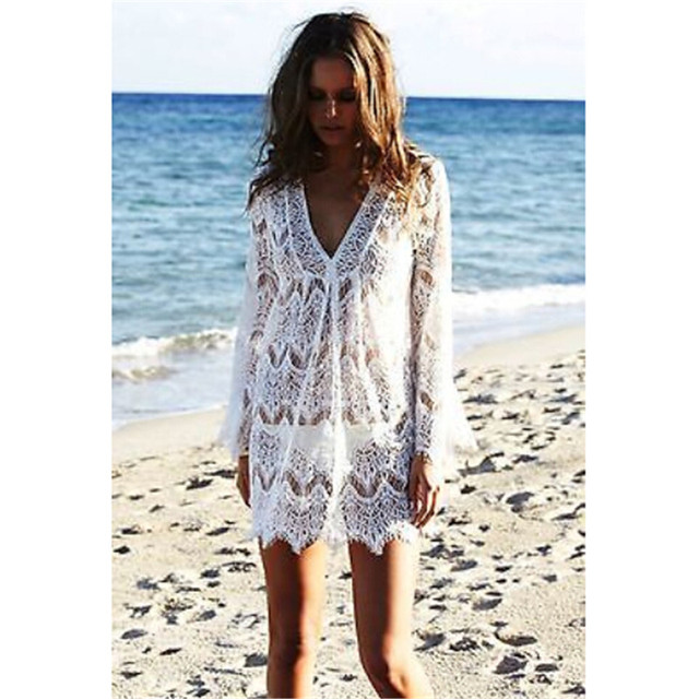 62b7c7cac2c Aliexpress.com : Buy New Summer Swimsuit Lace Hollow Crochet Beach Bikini  Cover Up Long Sleeve Women Top Swimwear Beach Dress White Beach Tunic Shirt  from ...